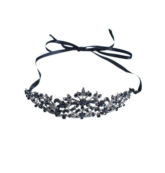 Regal Rose Black Crystal Tiara