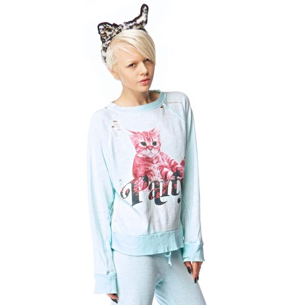 Wildfox Couture Party Cat Destroyed Sweater