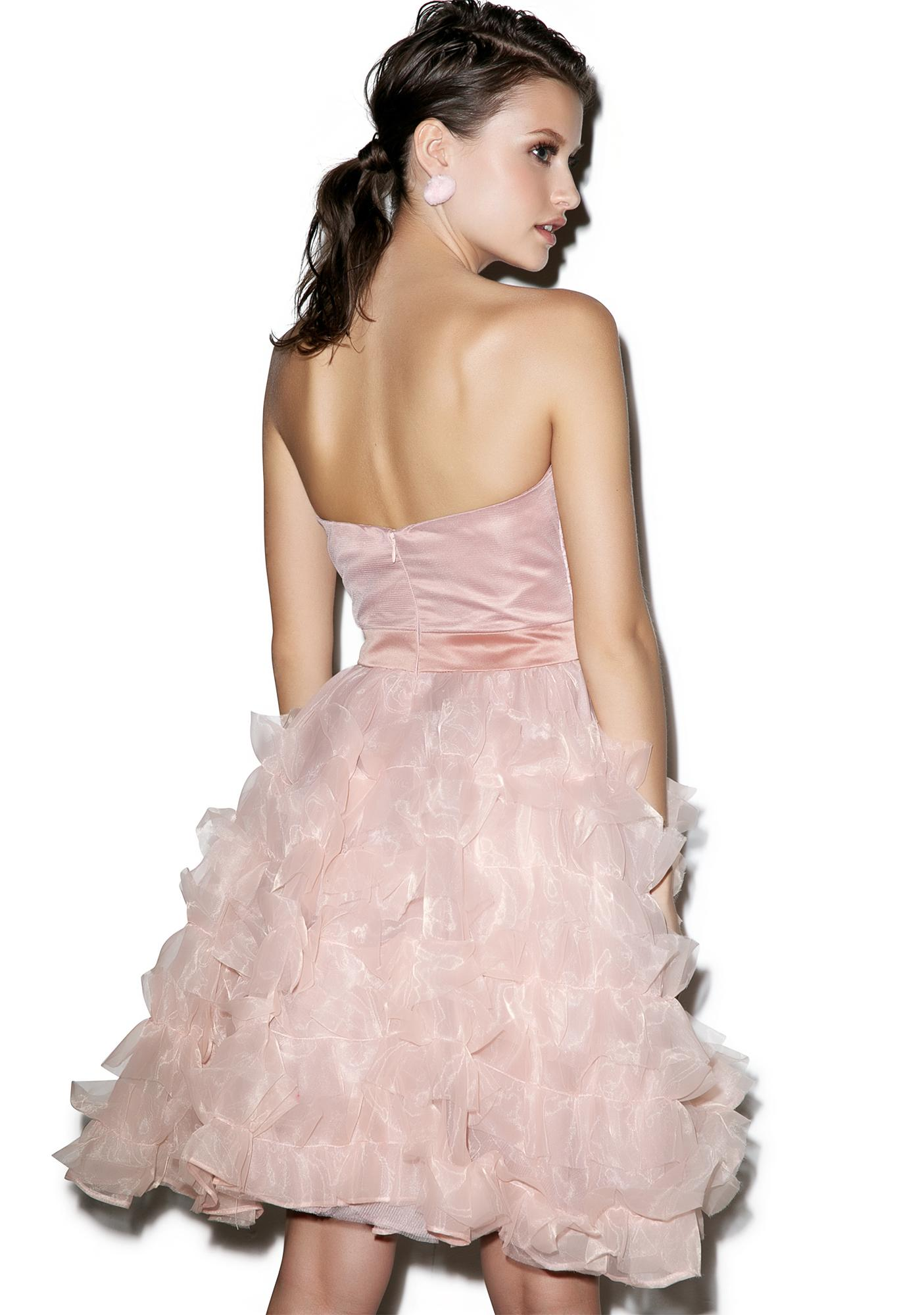 Glamorous Rose Bride Ruffled Dress