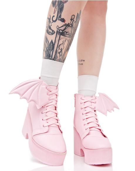 Bubblegum Bat Wing Boots