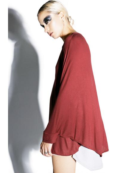 Can't Tell Me Nothin' Crimson Batwing Top
