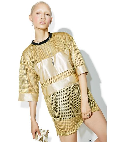 Gilded Mesh Jersey Top