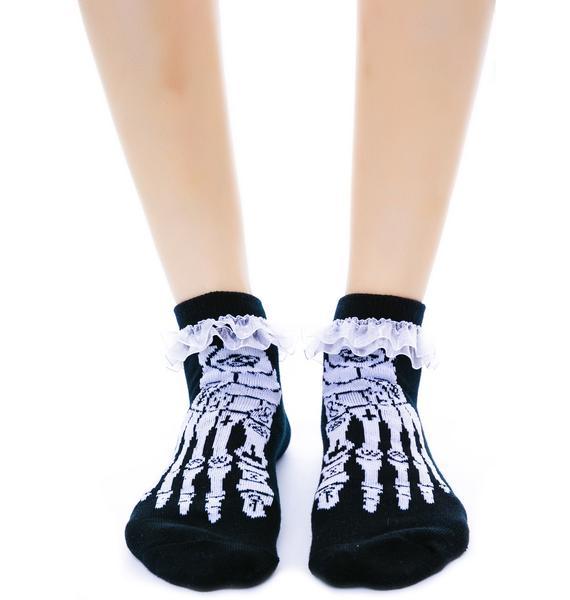 Too Fast Occult Bones Ruffle Ankle Socks