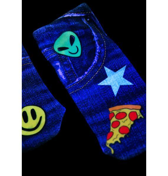 Denim Patch Ankle Socks