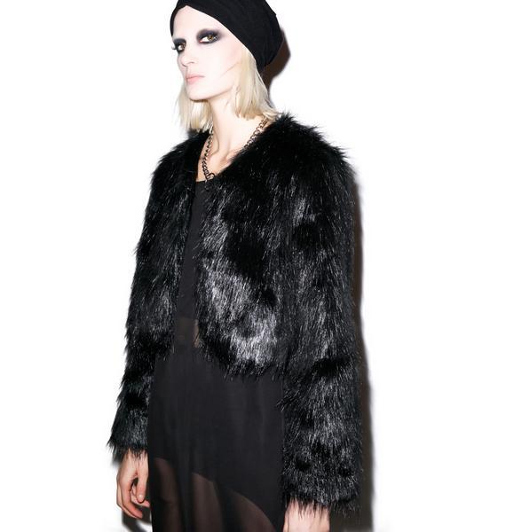 BLQ BASIQ Faux Sho Cropped Fur Jacket