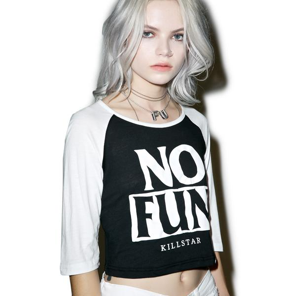 Killstar No Fun Raglan Crop