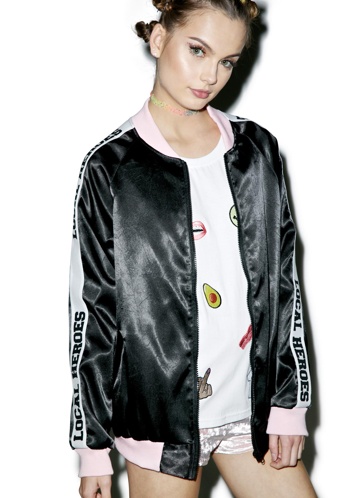 Local Heroes Black Satin Logo Jacket