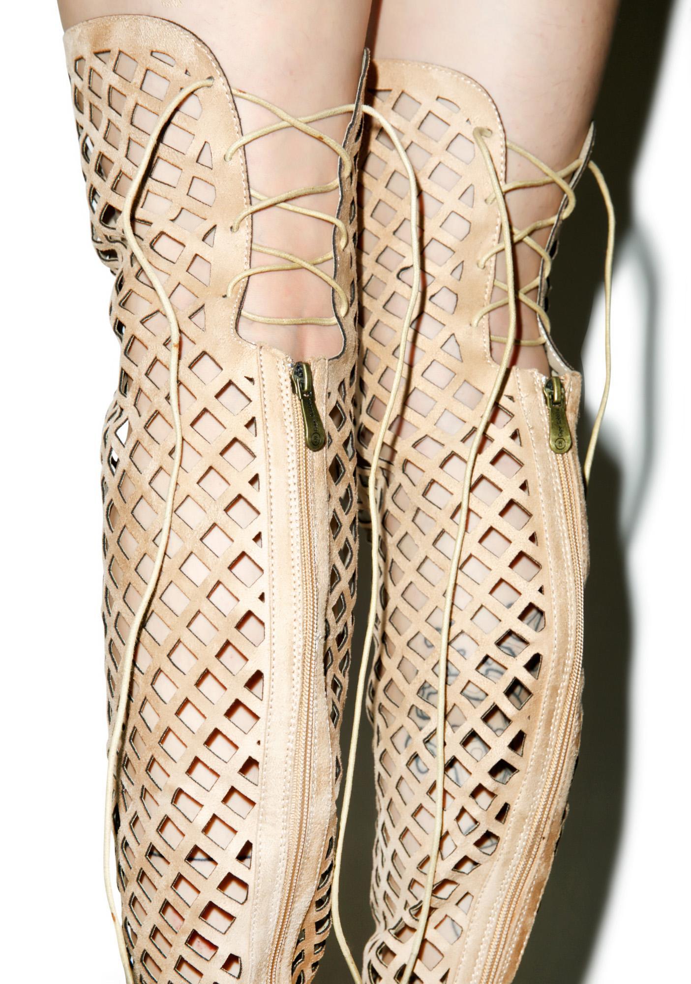 Honeycomb Thigh High Heels