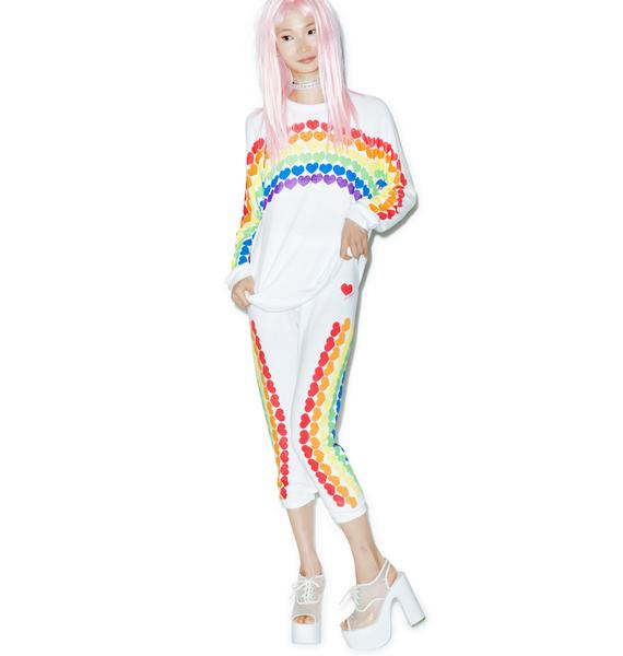 Lauren Moshi Lovie Rainbow Heart Cropped Sweatpants