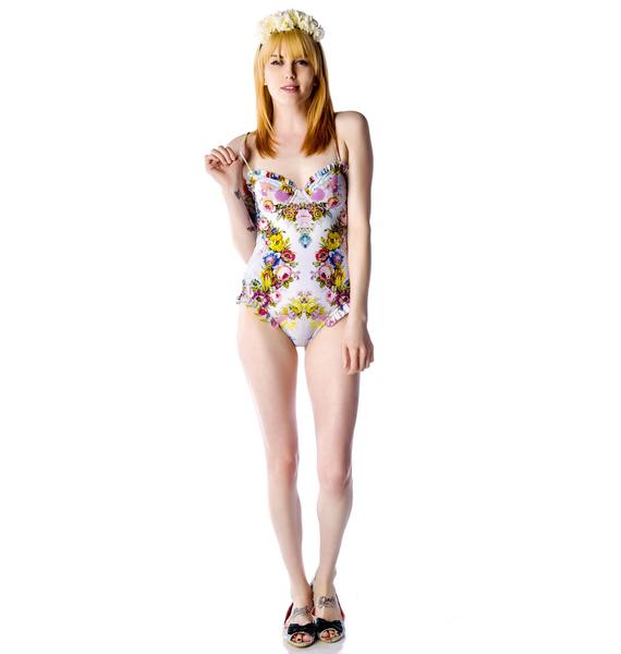 Wildfox Couture French Flowers Kitty Lovelock Ruffle One Piece Swimsuit