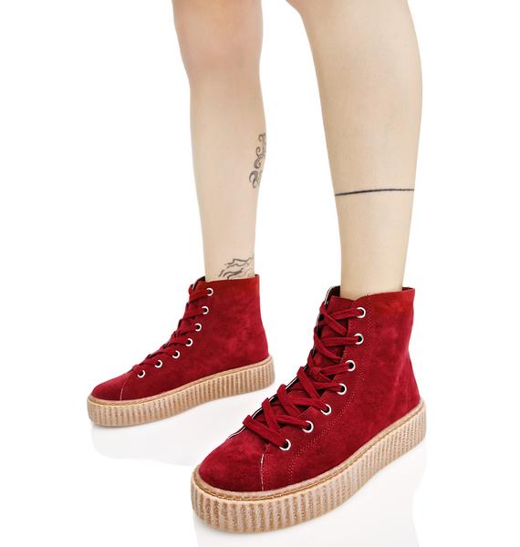 Public Desire Bordeaux Iyla Hi Top Creeper Sneakers