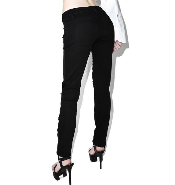 Tripp NYC Faux Leather Spiked Jeans