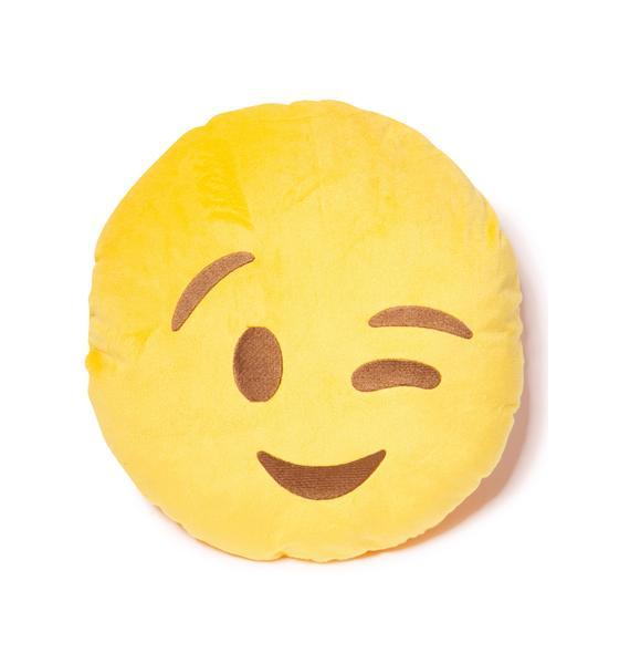 Wink Emoji Pillow