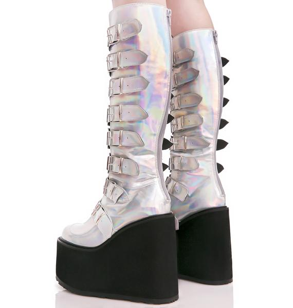 Demonia X Dolls Kill Hologram Trinity Boots