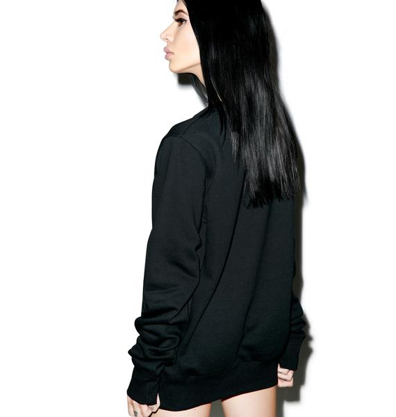 Black Scale Pentacle And Moon Crewneck
