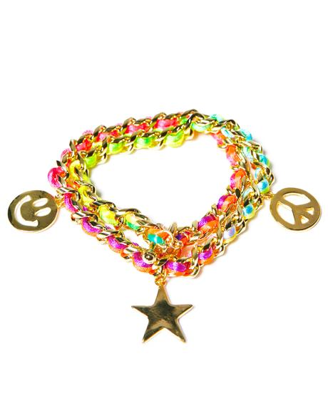 Neon Smiley Face Charm Bracelet