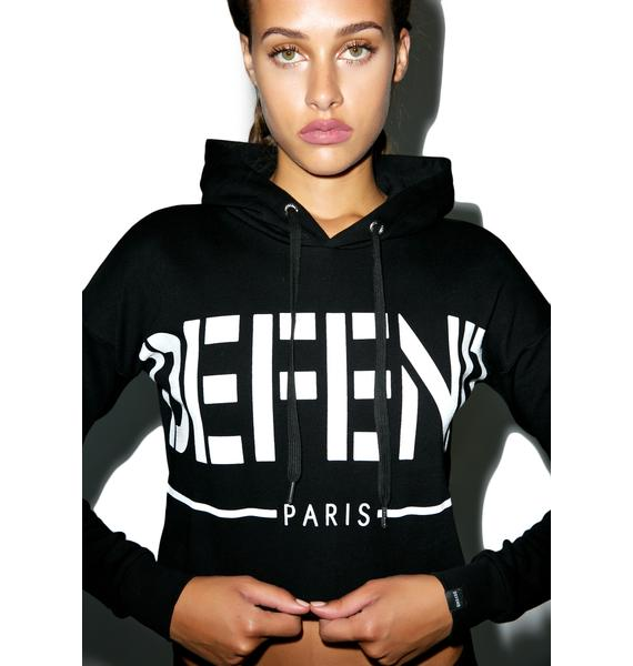 Defend Paris Defend Block Crop Hoodie