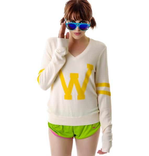 Wildfox Couture Letterman V-Neck Baggy Beach Jumper