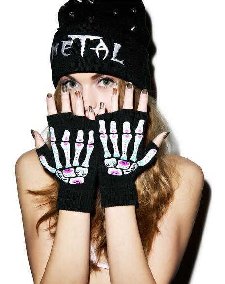 Day Of The Dead Bones Fingerless Gloves
