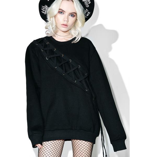 Binding Feelz Lace-up Sweater