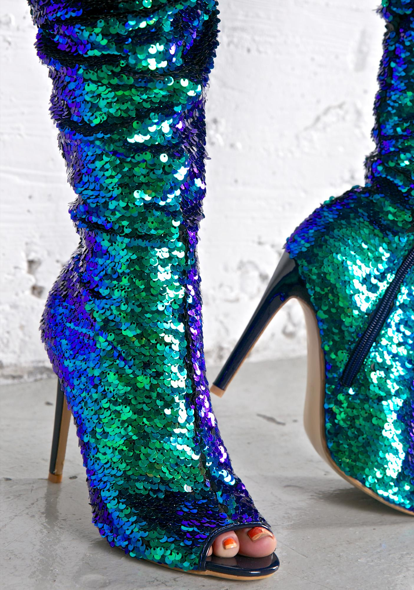 sequin thigh high boot dolls kill