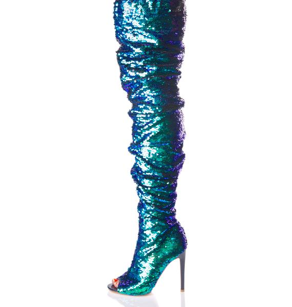 Sea Sequin Thigh-High Boots