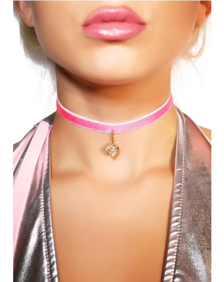Hot Pink Diamond Charm Velvet Choker