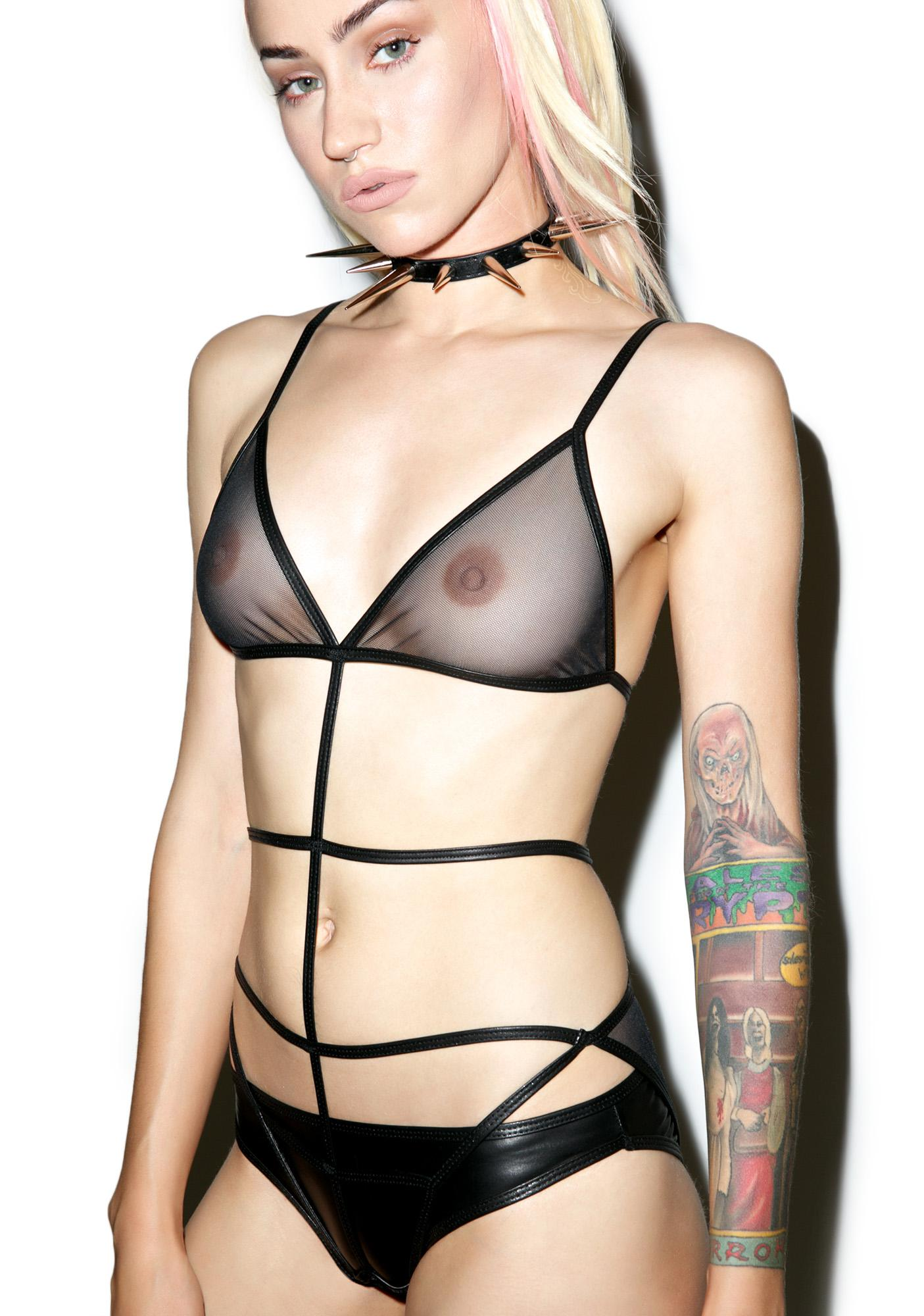 Deep Desire Caged Bodysuit Set