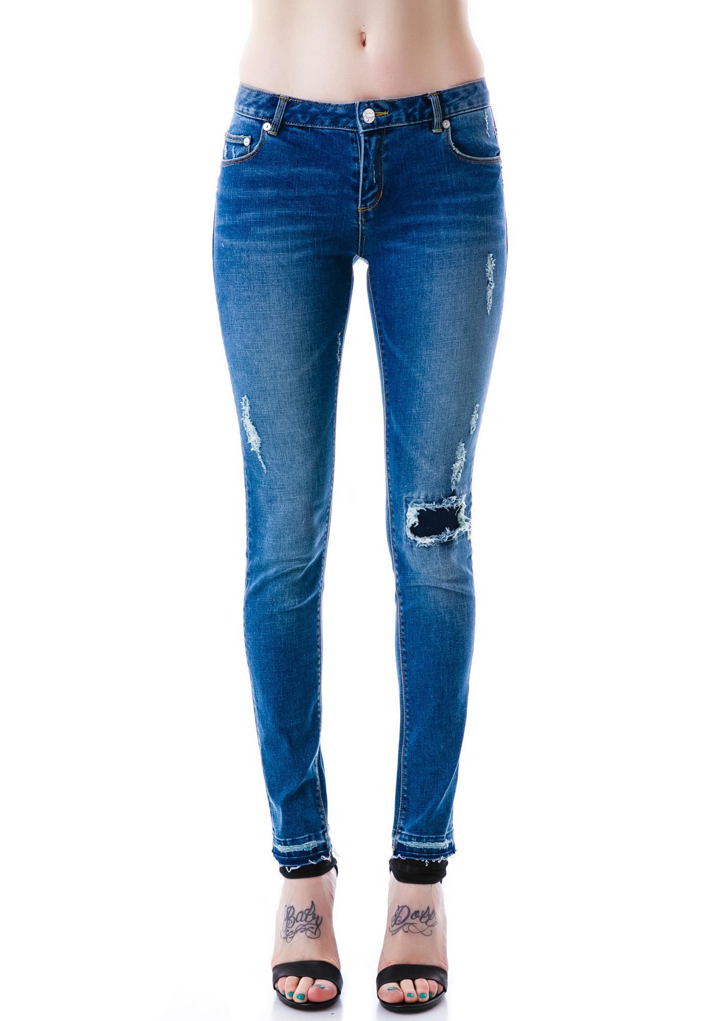 Zoe Karssen Distressed Low Rise Ankle Skinny Jean