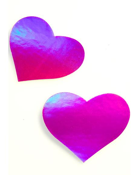 Pink Holographic Heart Pasties