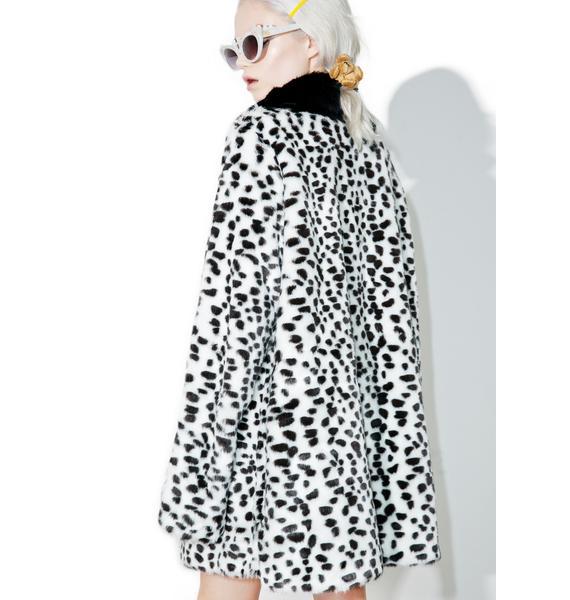 Lazy Oaf X Disney 101 Dalmatians Faux Fur Coat