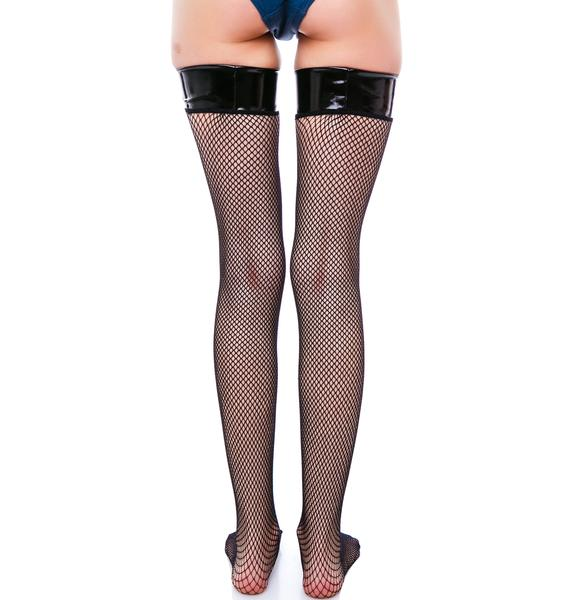 Madame Midnight Thigh High Fishnet Stockings