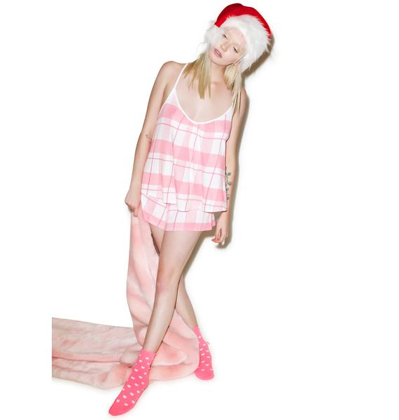 Wildfox Couture Pink Plaid Day Dream Set