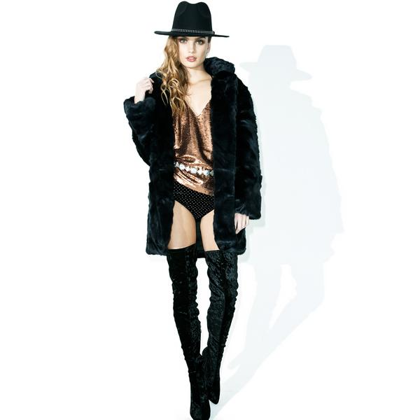 Crystal Visions Faux Fur Coat