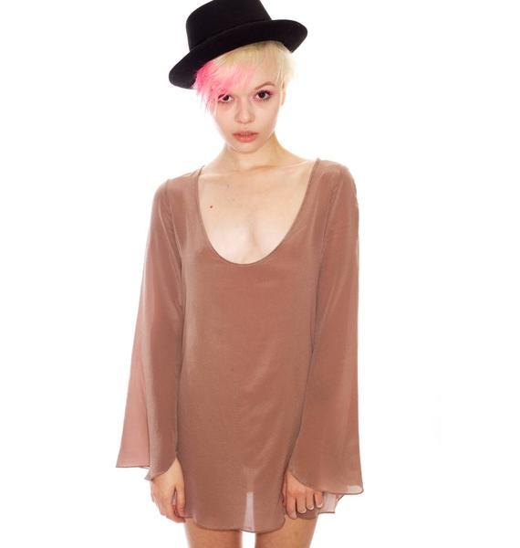 One Teaspoon Prestige Long Sleeve Silk Mini Dress