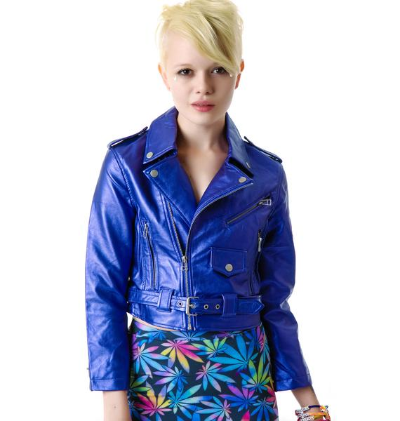 Lip Service Purple Haze Metallic Moto Jacket