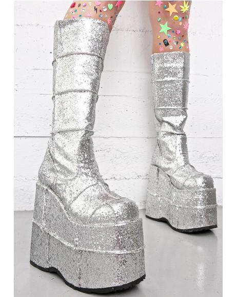 Glitter Stack Platform Boots