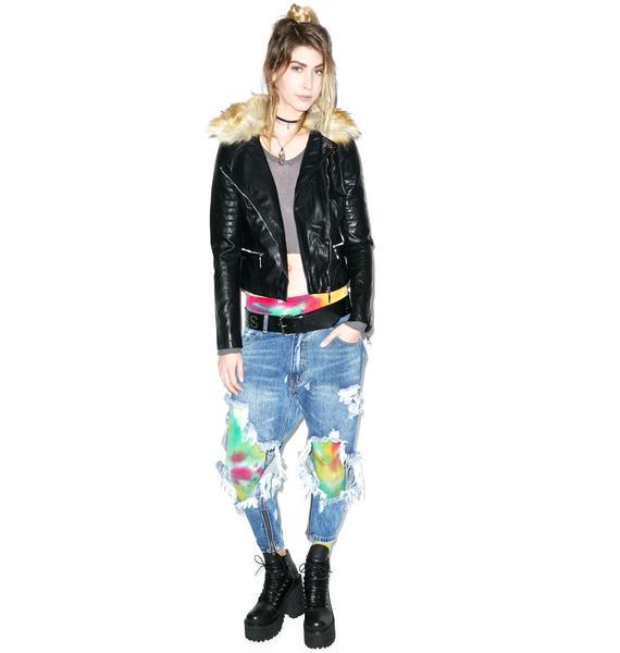 Glamorous Faux-nomenal Fur Collar Biker Jacket