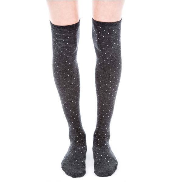 Plush Dot Thigh High Socks