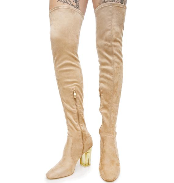 Nude Neptune Thigh-High Boots