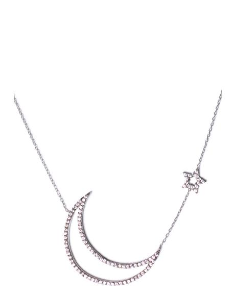 Only In Your Dreams Cut Out Moon & Star Necklace
