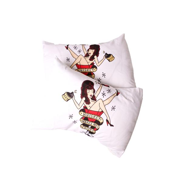 Sourpuss Clothing Whiskey Makes Me Frisky Pillowcase Set