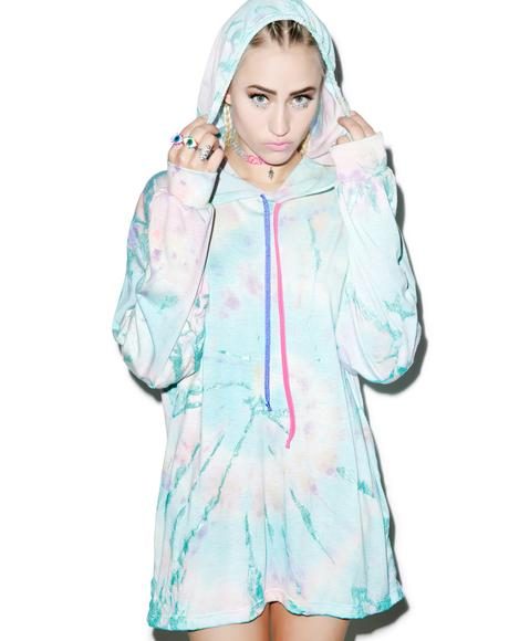 Metallic Tie Dye Hooded Shirt