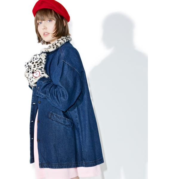 Lazy Oaf Leopard Print Denim Jacket