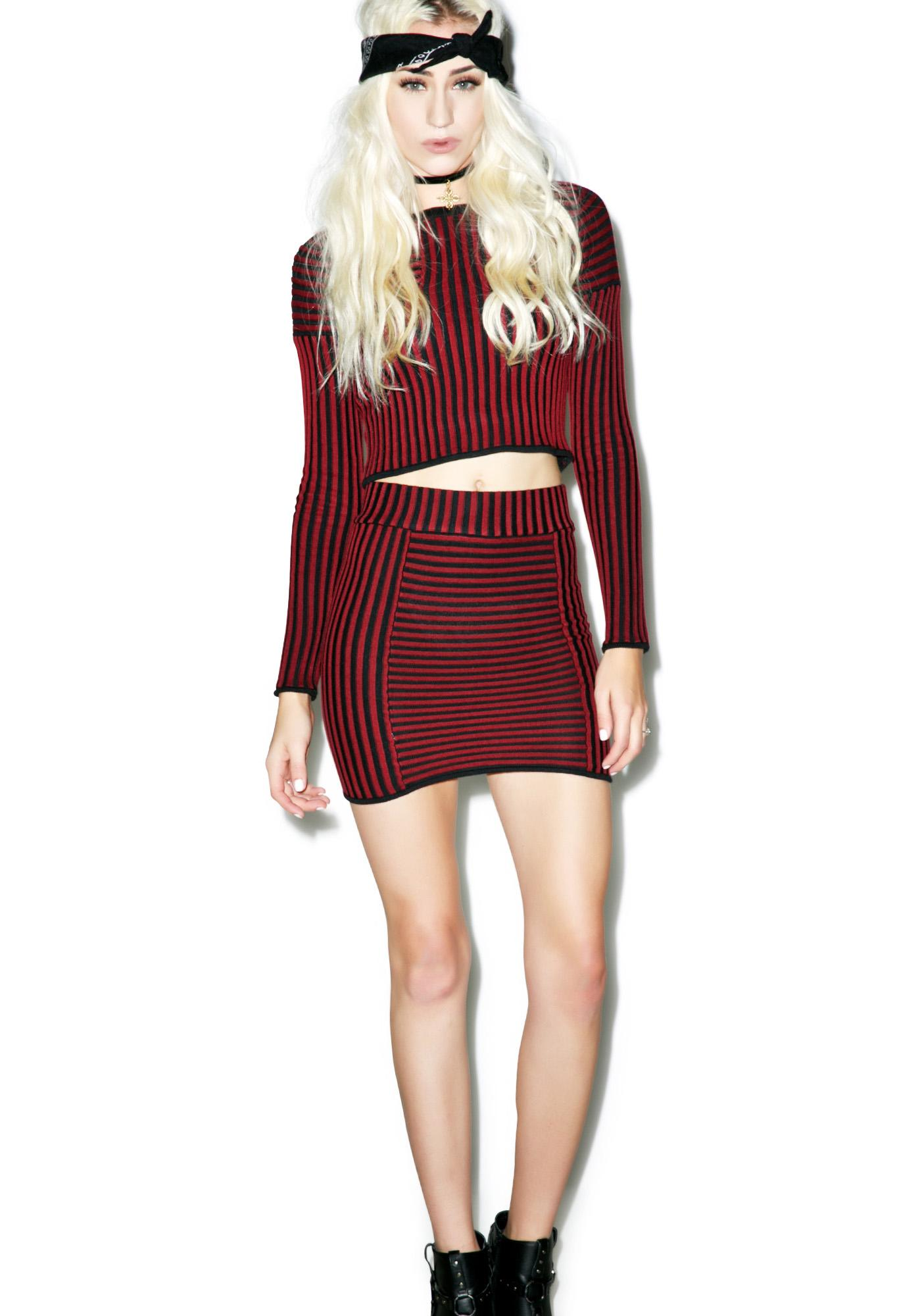 For Love & Lemons Switch Stripe Mini Skirt