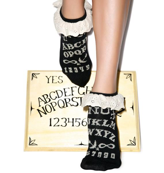 Too Fast Ouija Eyelet Ankle Sock