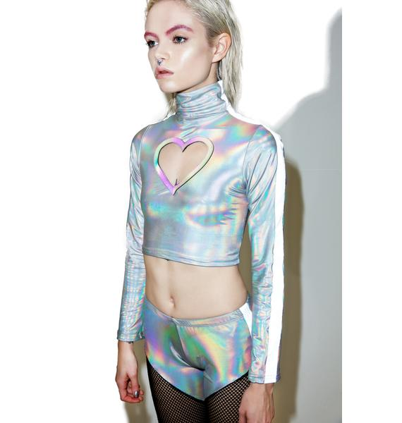 ESQAPE Reflective Heart Cut Out Top