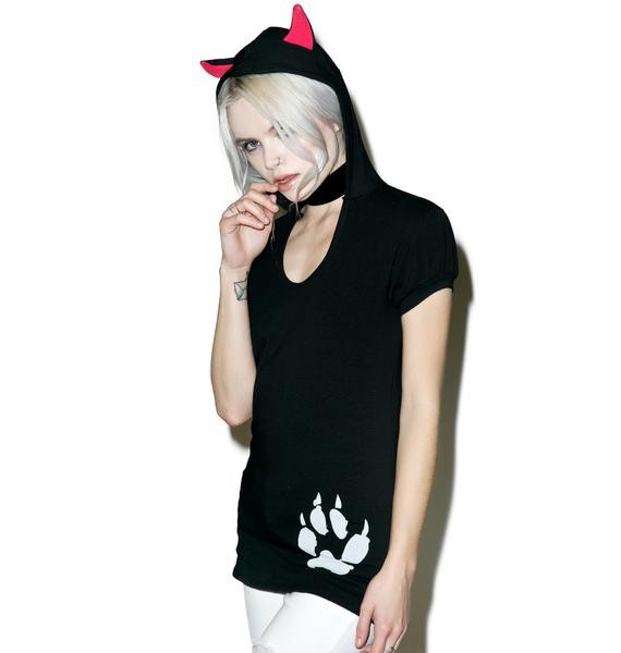 Kreepsville 666 Black Cat Hoody Tunic Top
