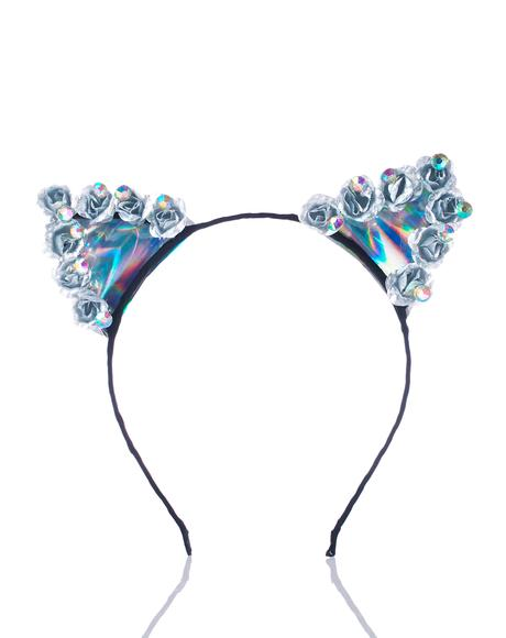 Iridescent Hologram Kitty Ears