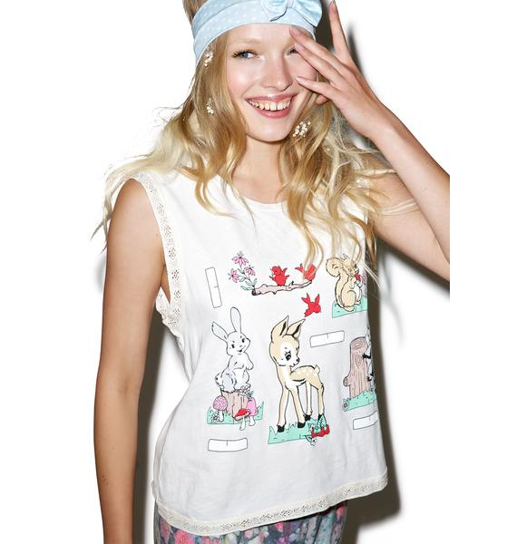 Wildfox Couture Forest Paperdolls Barback Tank